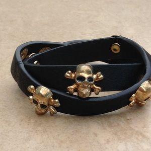 Jewelry - Black Pleather Skull Double Wrap Bracelet